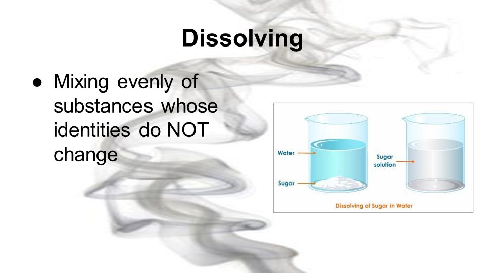 Dissolving Mixing evenly of substances whose identities do NOT change