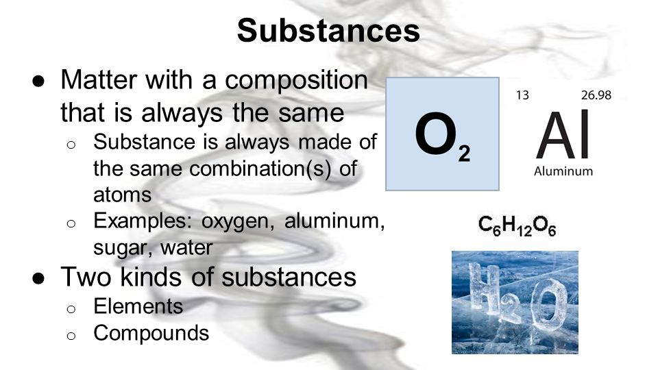 Substances Matter with a composition that is always the same