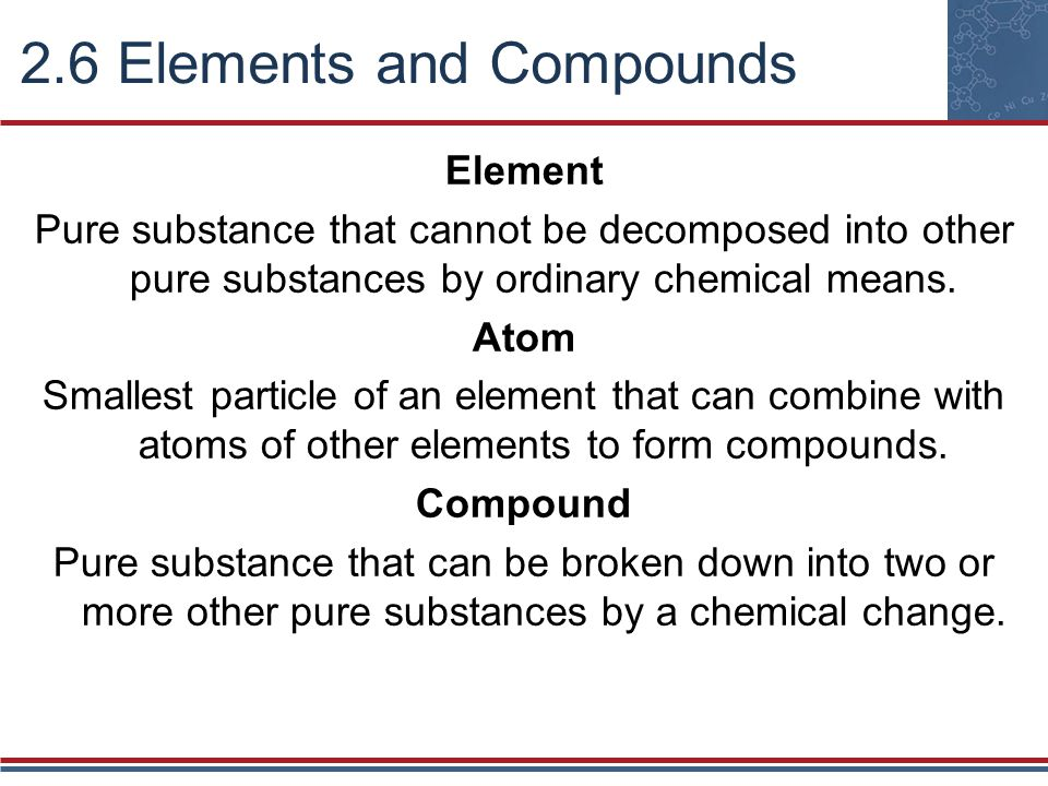 Resolution of matter into pure substances