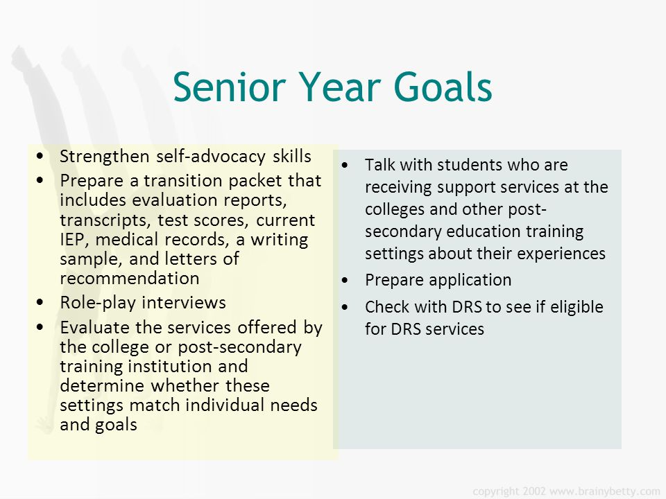 senior year goals Senior year only for those students who come to us after june 15 of the year before they expect to enter university, we compress our full-service plan into an intensive year of guided university search and application support.