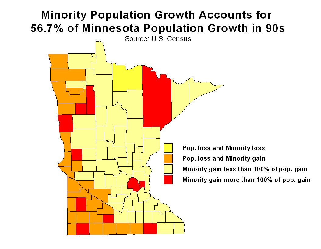 In Clearwater, Lyon, Mahnomen, Nobles, Ramsey and Watonwan counties, minority population growth was greater than 200% of total population growth.