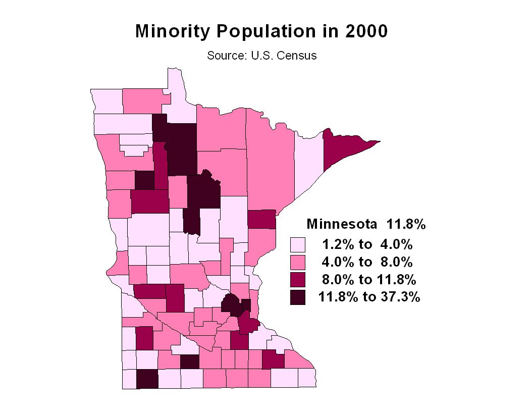 Traditionally, areas in north central Minnesota have had a higher proportion of minorities in their population (primarily American Indian).