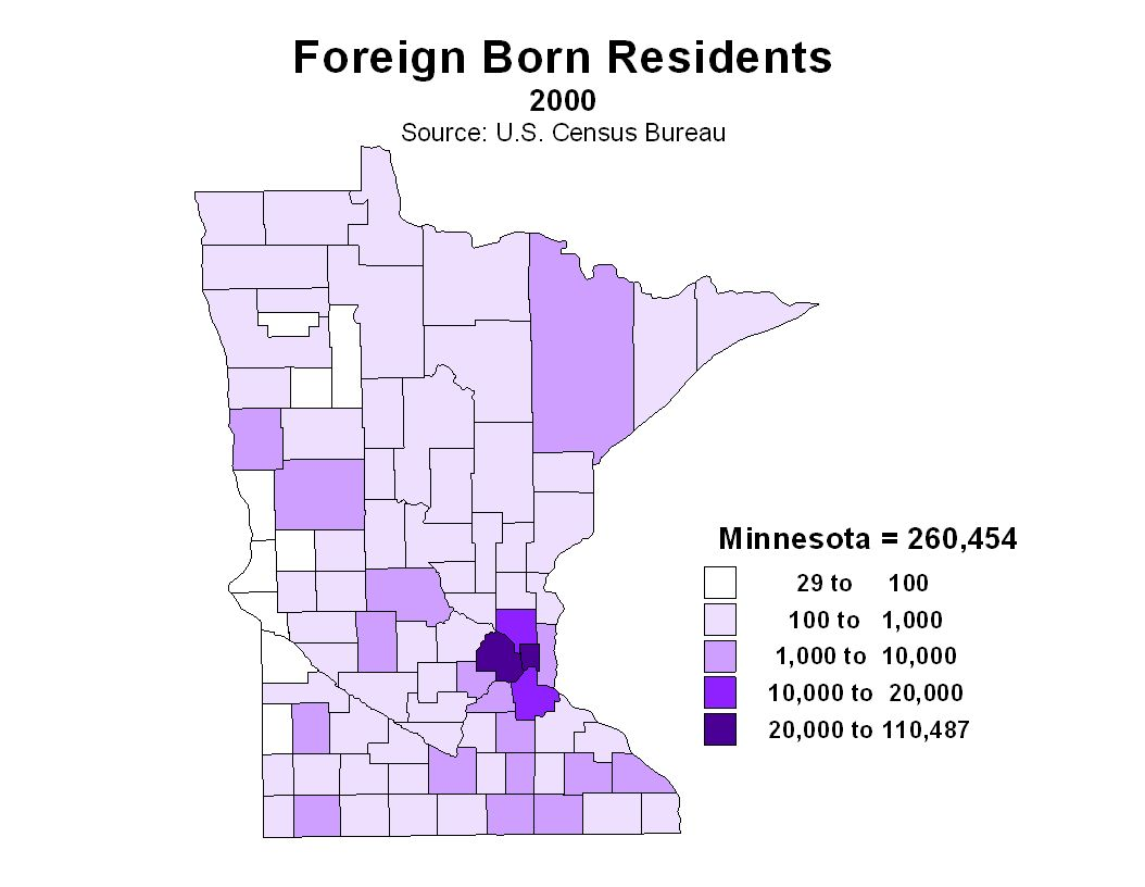 Foreign born residents include all persons born outside the U. S