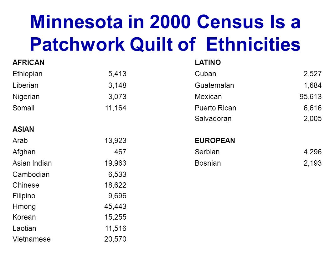 Minnesota in 2000 Census Is a Patchwork Quilt of Ethnicities