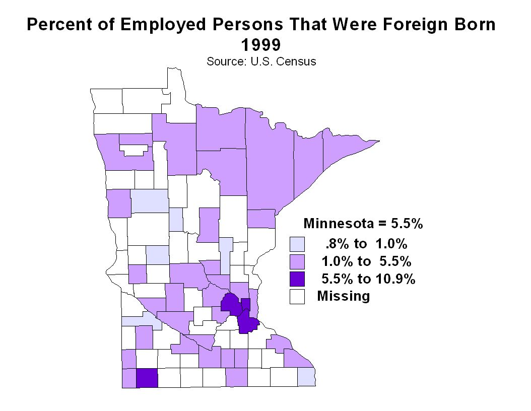 Nobles County had the highest proportion of foreign born workers in 1999, followed by Ramsey County (10.29%), Hennepin County (10.19%), Dakota County (5.52%), Koochiching County (5.48%), and Lyon County (4.34%).