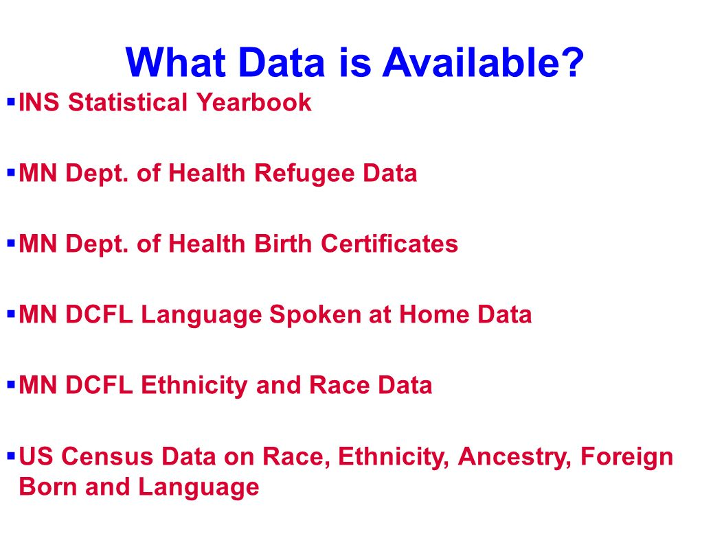 What Data is Available INS Statistical Yearbook
