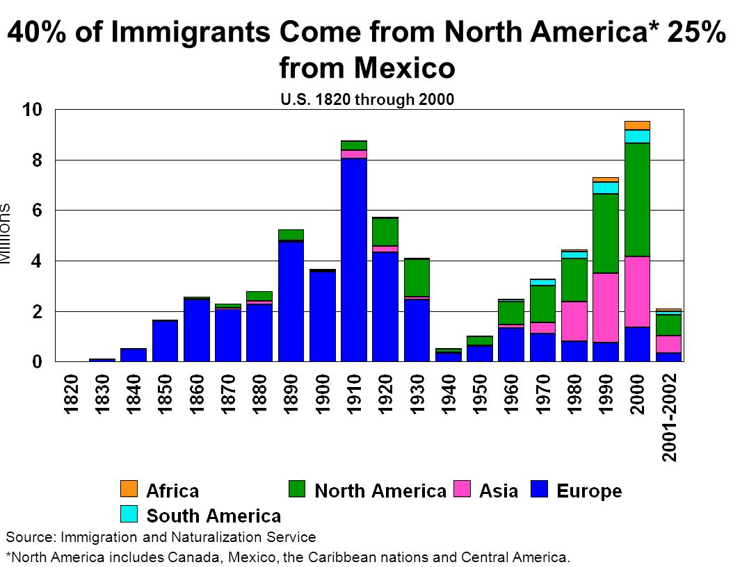40% of Immigrants Come from North America* 25% from Mexico