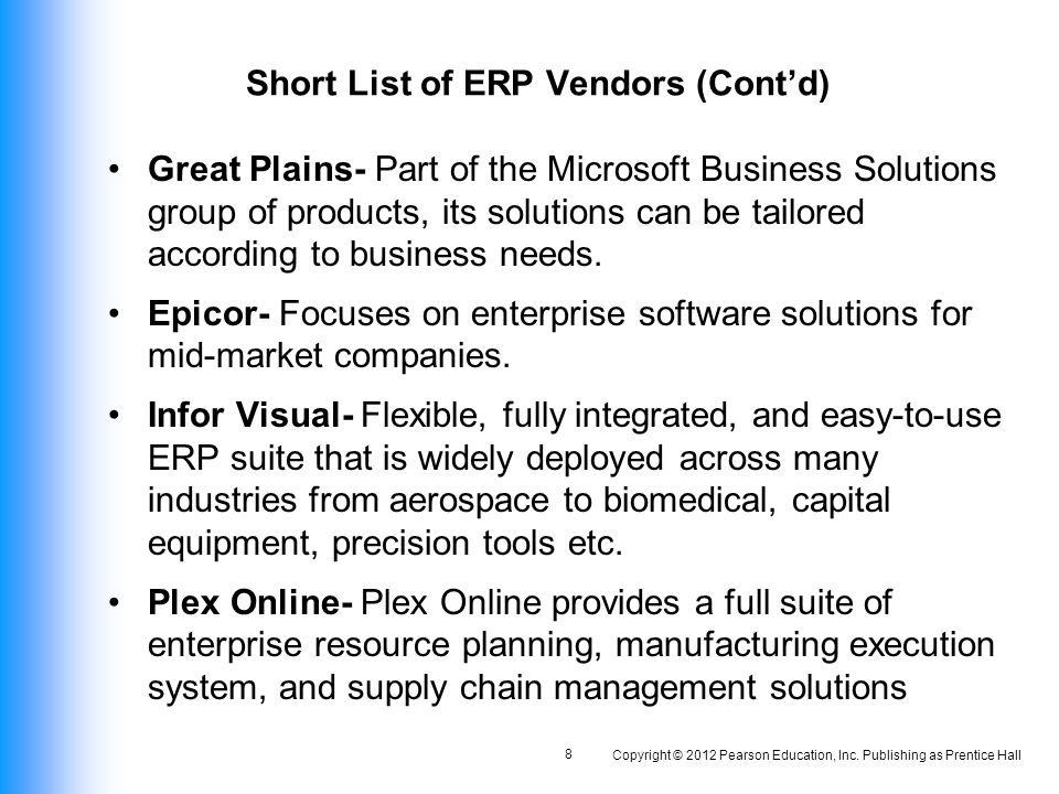 short list of erp vendors contd