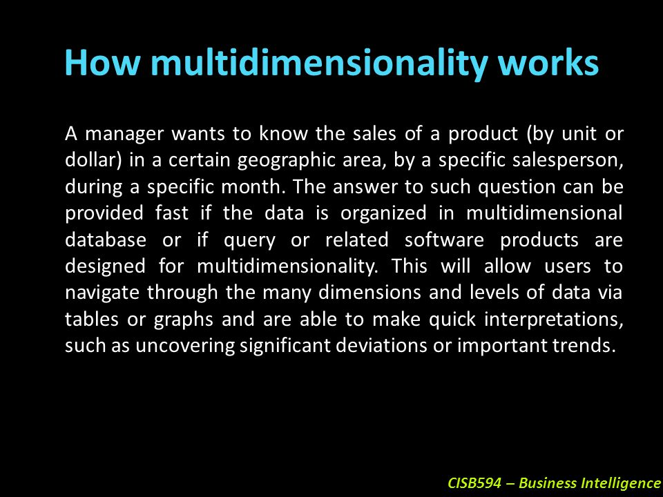 How multidimensionality works