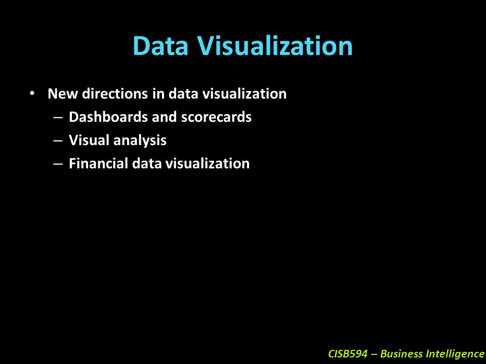 Data Visualization New directions in data visualization