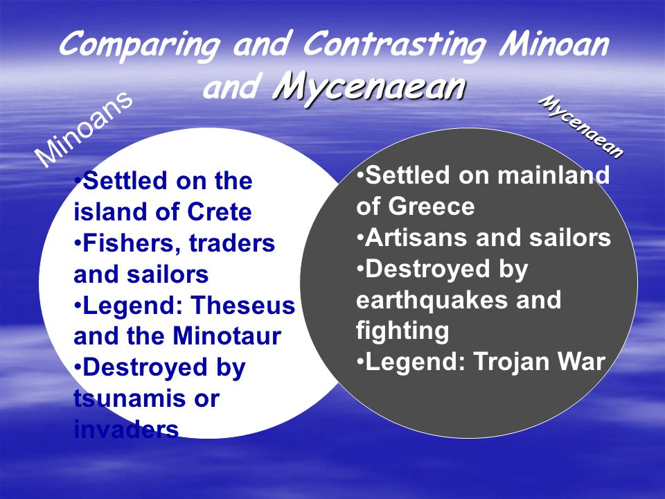 comparing and contrasting the minoan and mycenaean civilizations Comparing the reigns of julian  minoan and mycenean civilizations  which is the time period that the famous minoan and mycenaean civilizations.