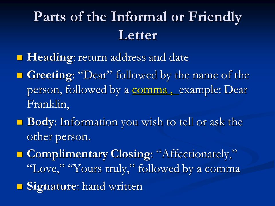 Friendly letters vs business letters ppt video online download parts of the informal or friendly letter spiritdancerdesigns Image collections
