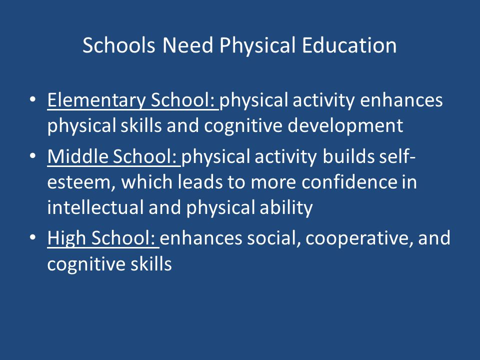 the importance of physical education in high schools Youth physical activity: the role of schools  youth who spend more time in physical education class do not have lower test scores than youth who spend.