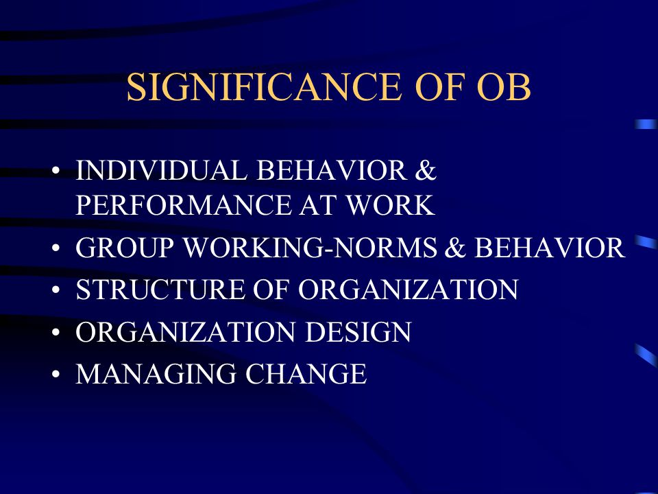 organizational behavior related to high performance workplaces Contents part one introduction 1 introduction to the field of organizational behavior 2 work-related stress and stress high-performance teams 294 self.
