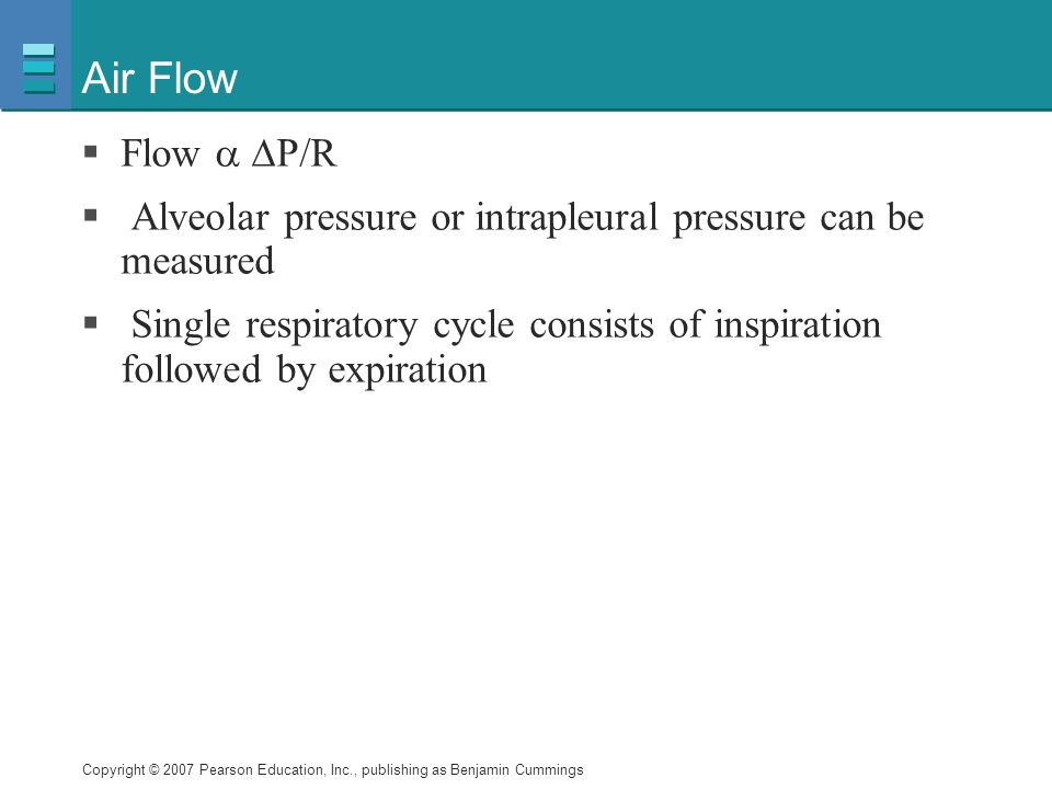 Air Flow Flow  P/R. Alveolar pressure or intrapleural pressure can be measured.