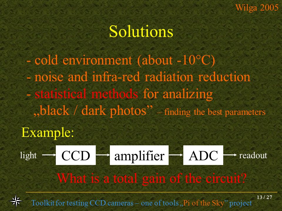 Solutions - cold environment (about -10C)