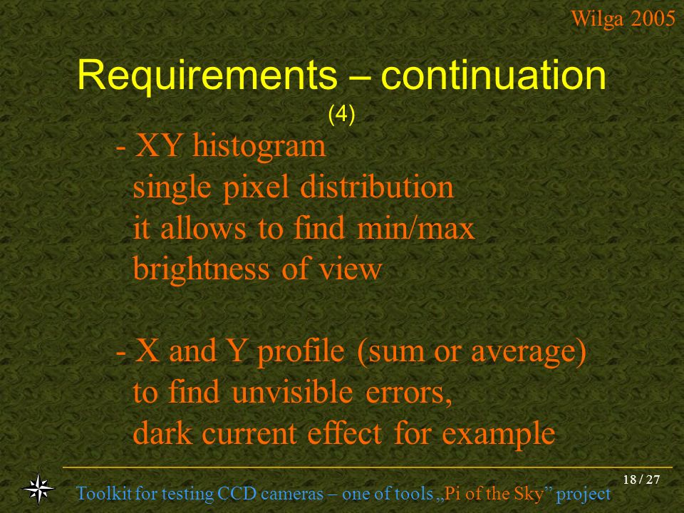Requirements – continuation (4)