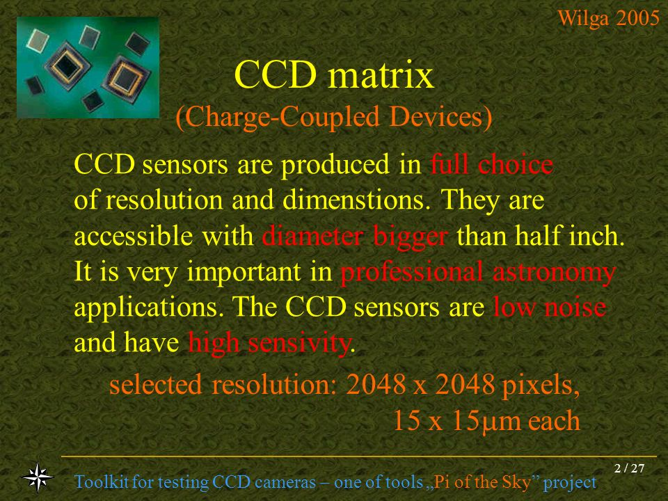 CCD matrix (Charge-Coupled Devices)