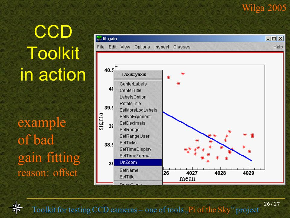 CCD Toolkit in action example of bad gain fitting reason: offset sigma