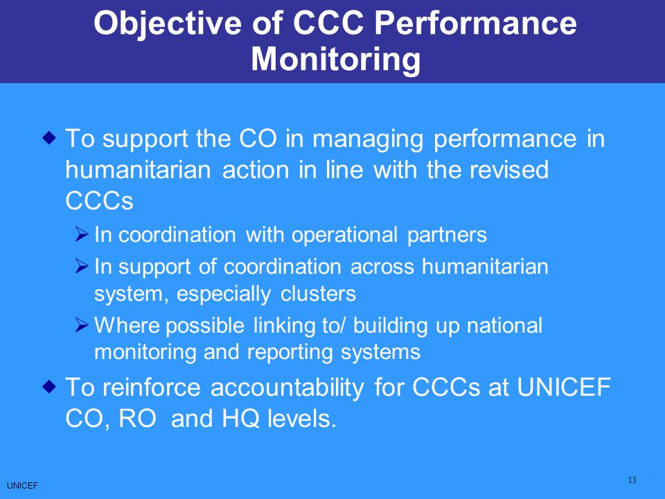 Objective of CCC Performance Monitoring
