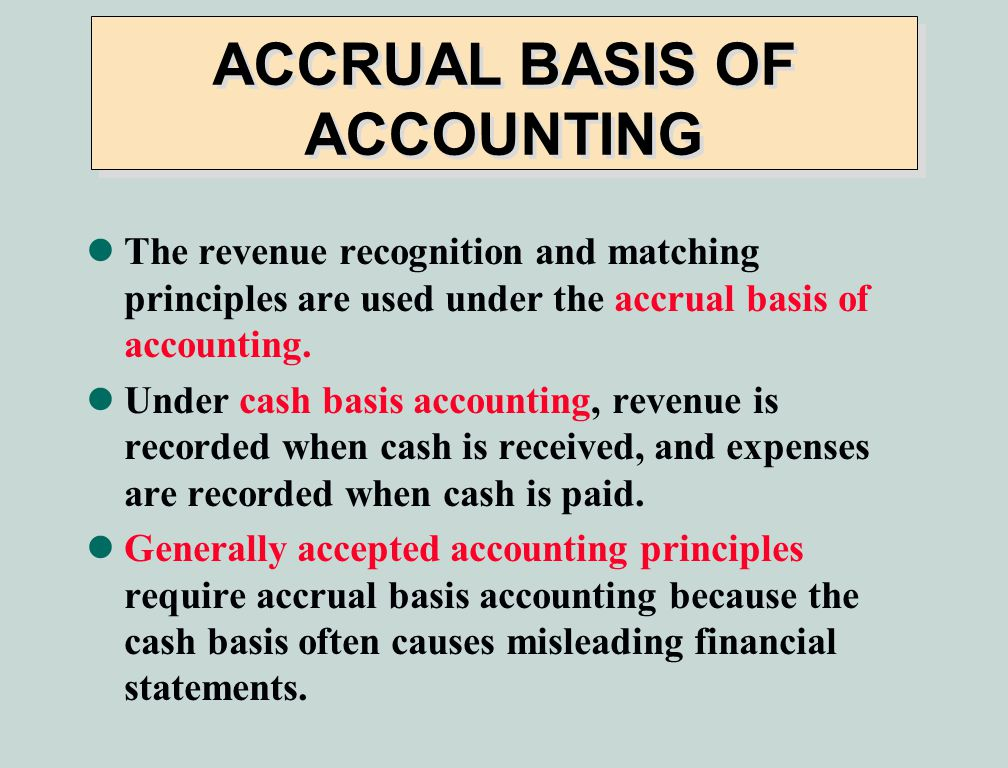 impact of accrual concept on profit realisation What was your profit the impact of each transaction on specific accounting periods revenue recognition accrual accounting concepts.