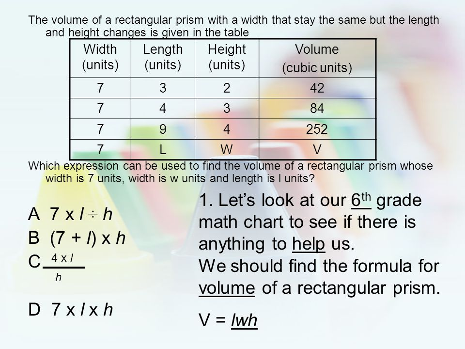 We should find the formula for volume of a rectangular prism. V = lwh