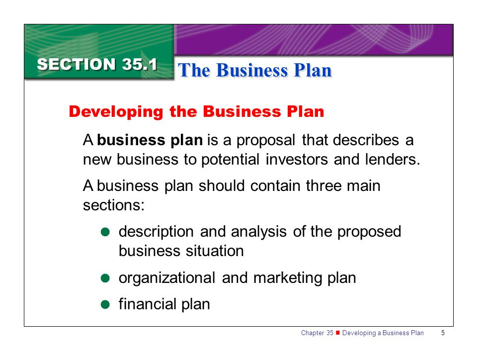The Business Plan SECTION 35.1 Developing The Business Plan