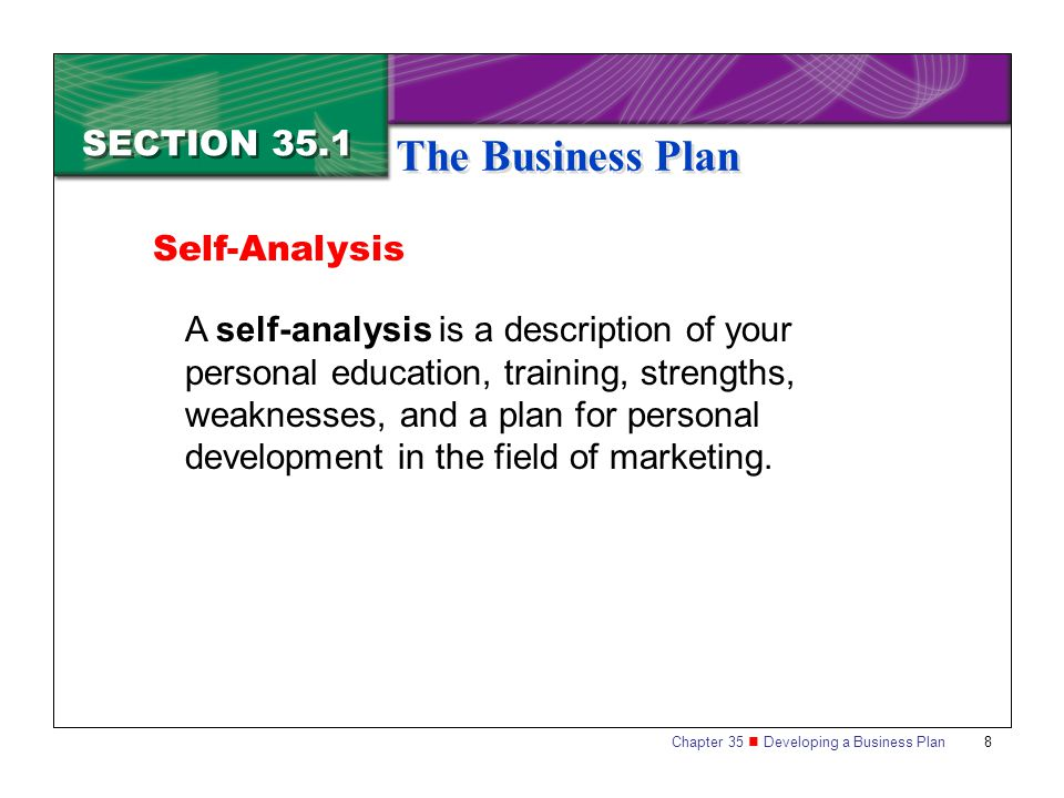 Self analysis business plan