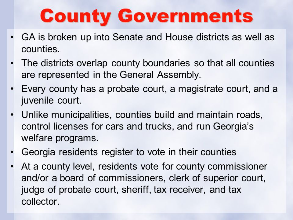 County Governments GA is broken up into Senate and House districts as well as counties.