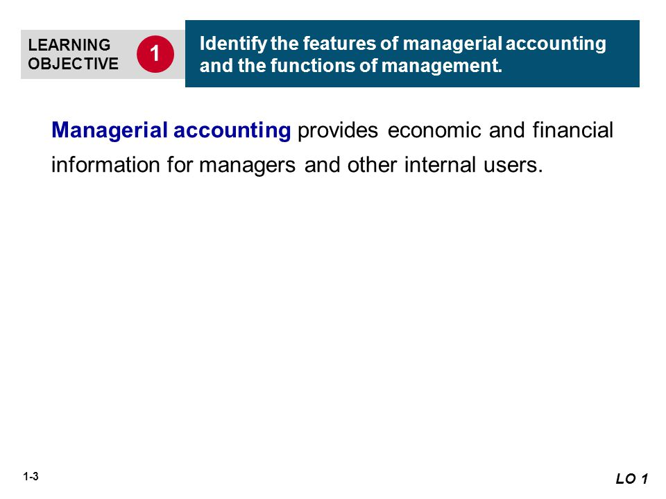 describe the difference in managerial accounting Managerial accounting provides internal reports tailored to the needs of managers and officers inside the company on the other hand, financial accounting provides external financial statements for general use by stockholders, creditors, and government regulators the table compares the differences between managerial and financial accounting.