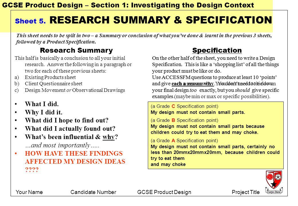 Gcse dt specification coursework