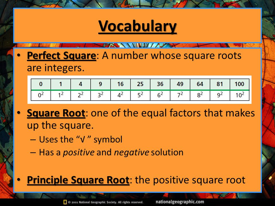 Vocabulary Perfect Square: A number whose square roots are integers.
