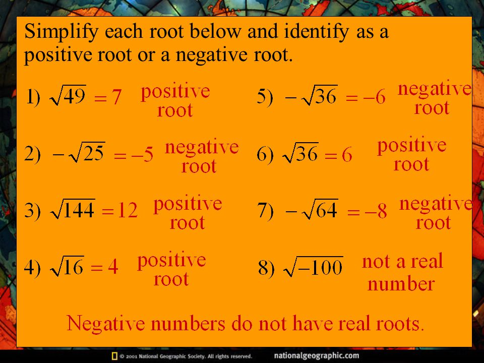 Simplify each root below and identify as a