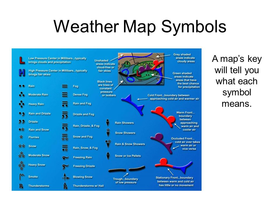 A map's key will tell you what each symbol means.