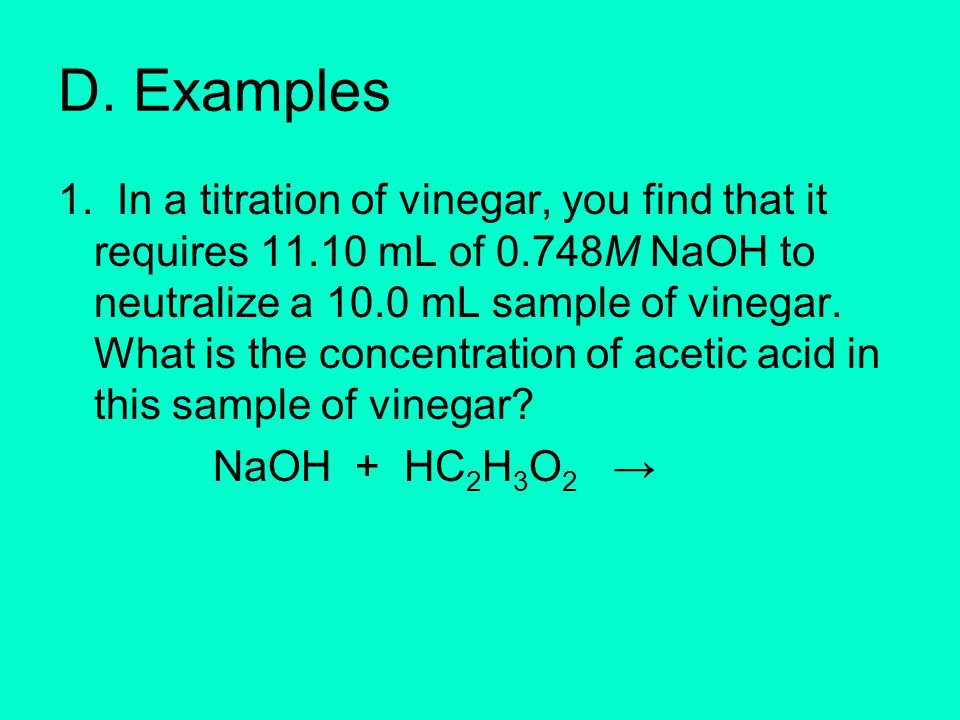 titration of acetic acid in vinegar Acetic acid (fr latin acetum for vinegar) is the main component of vinegar it is a carbon it is a carbon based compound with a single ionizable proton, making it an organic acid of the larger class of.