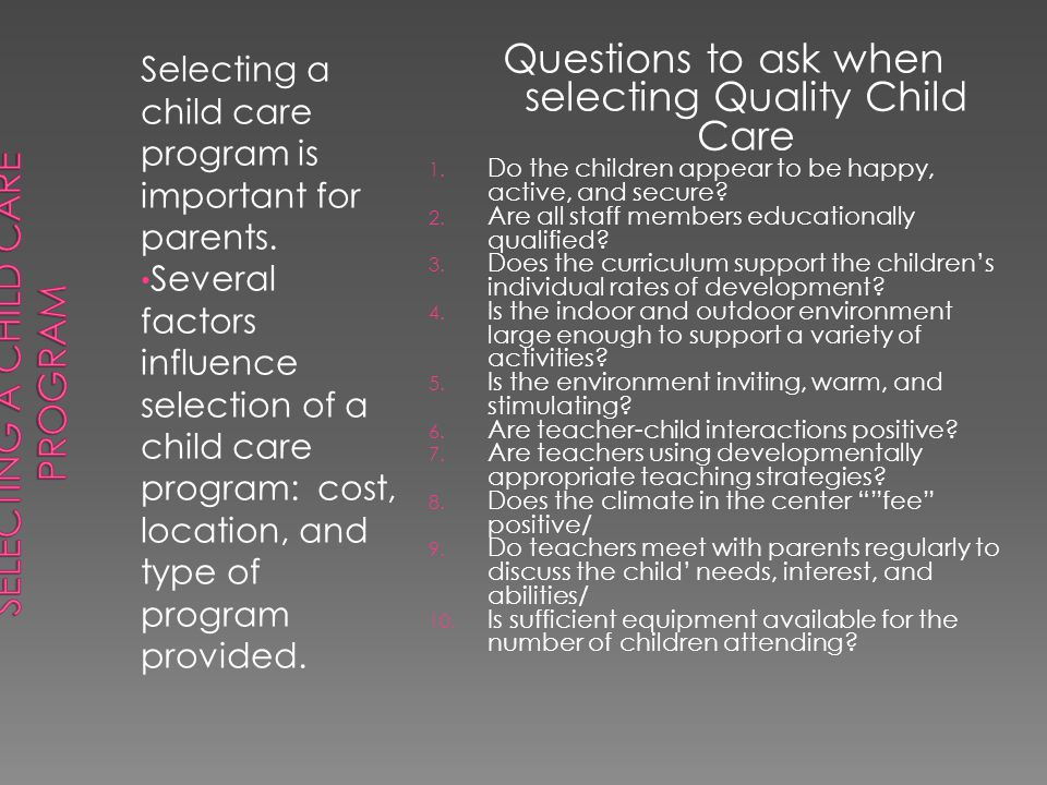 Selecting a Child Care Program