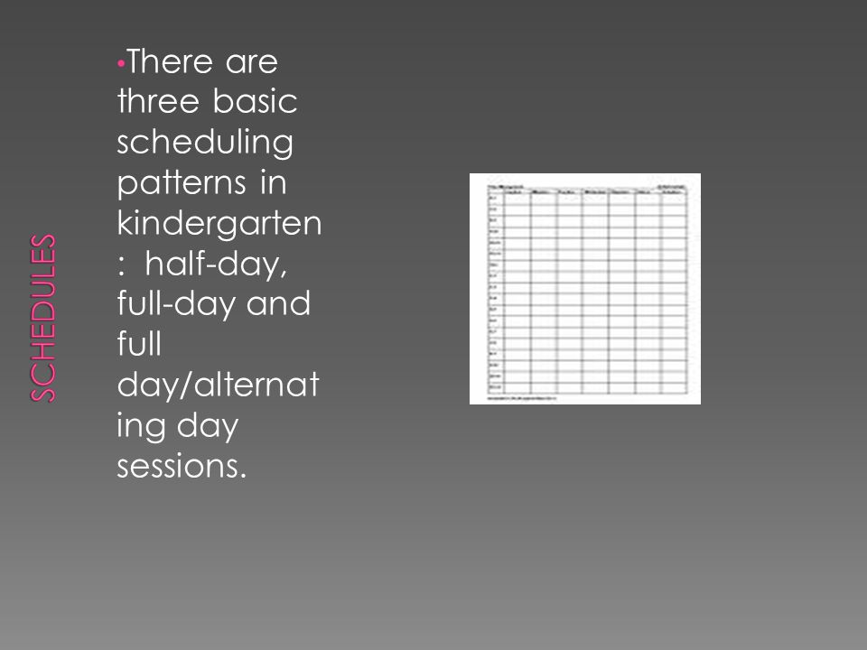 Schedules There are three basic scheduling patterns in kindergarten: half-day, full-day and full day/alternating day sessions.