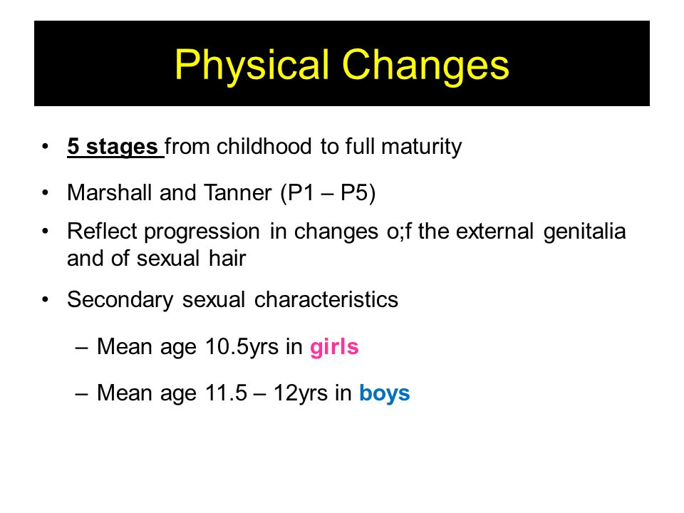 Physical Changes 5 stages from childhood to full maturity