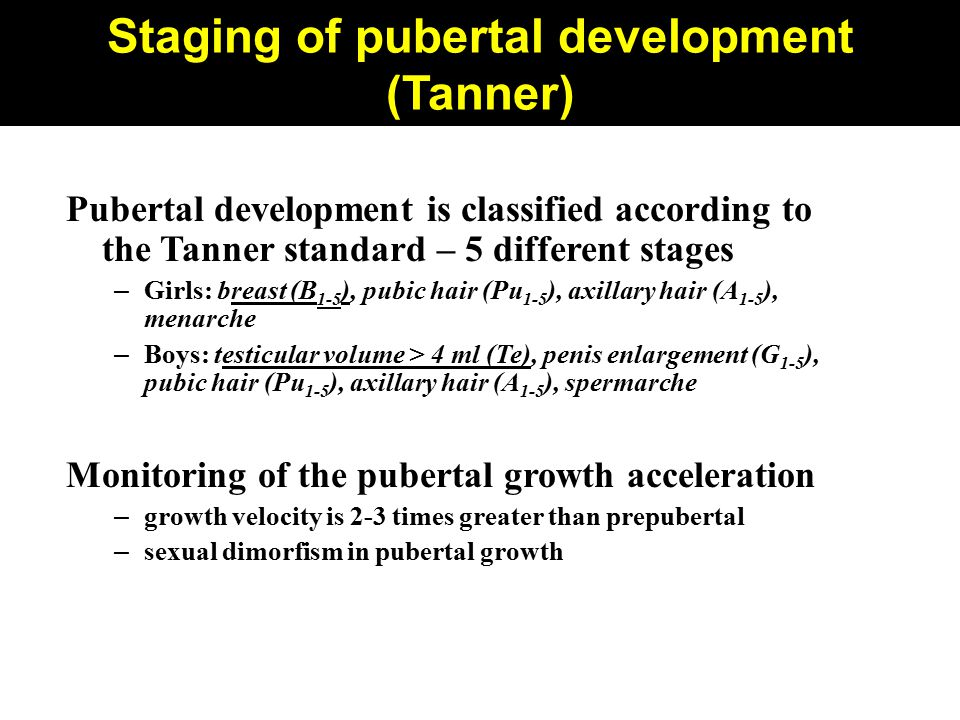 Staging of pubertal development (Tanner)