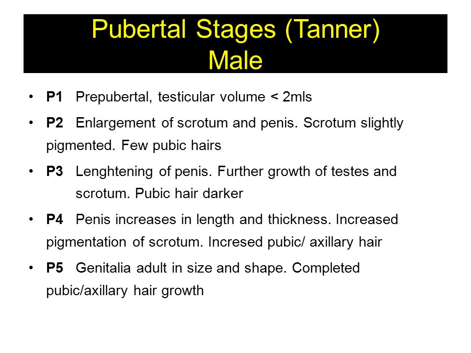 Pubertal Stages (Tanner) Male