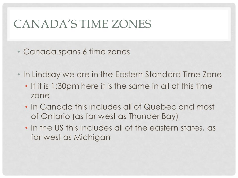 time zone canada