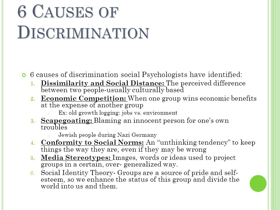 what are the causes of discrimination While categorization activates stereotypes and prejudice, the links to discrimination are not as direct there are a number of factors that influence when discrimination is more or less likely to occur chart it is sometimes true that individuals will behave favorably or unfavorably based on what they consciously think and feel.