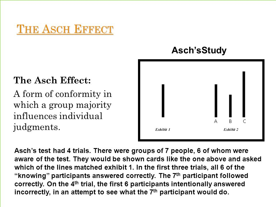 asch phenomenon The focus of conformity can be either external (overt behaviors) or internal (beliefs and feelings) in nature obedience is a change in behavior as a result of a direct command from an authority figure.