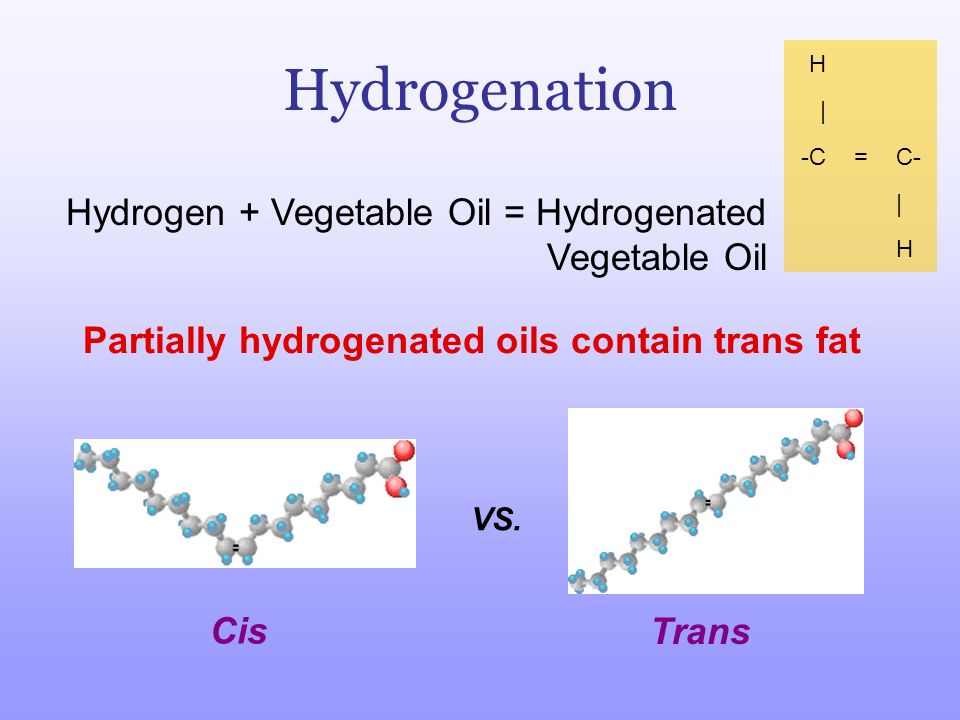 Partially hydrogenated oils contain trans fat