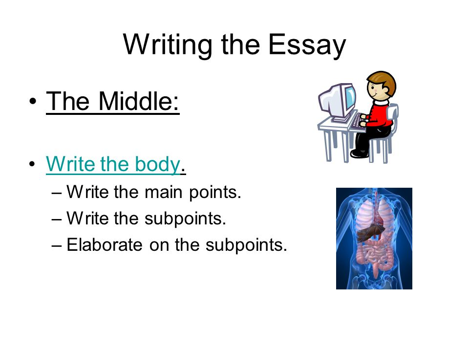 Writing the Essay The Middle: Write the body. Write the main points.