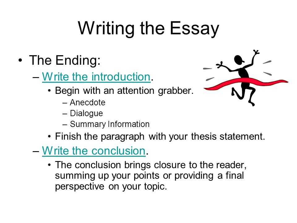 Writing the Essay The Ending: Write the introduction.