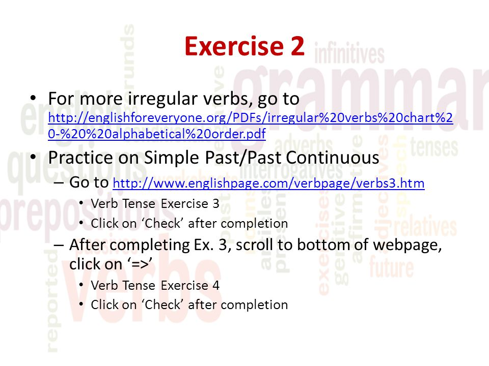 past continuous exercise