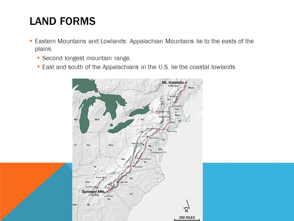 Land Forms Eastern Mountains And Lowlands Appalachian Mountains Lie To The Easts Of The Plains
