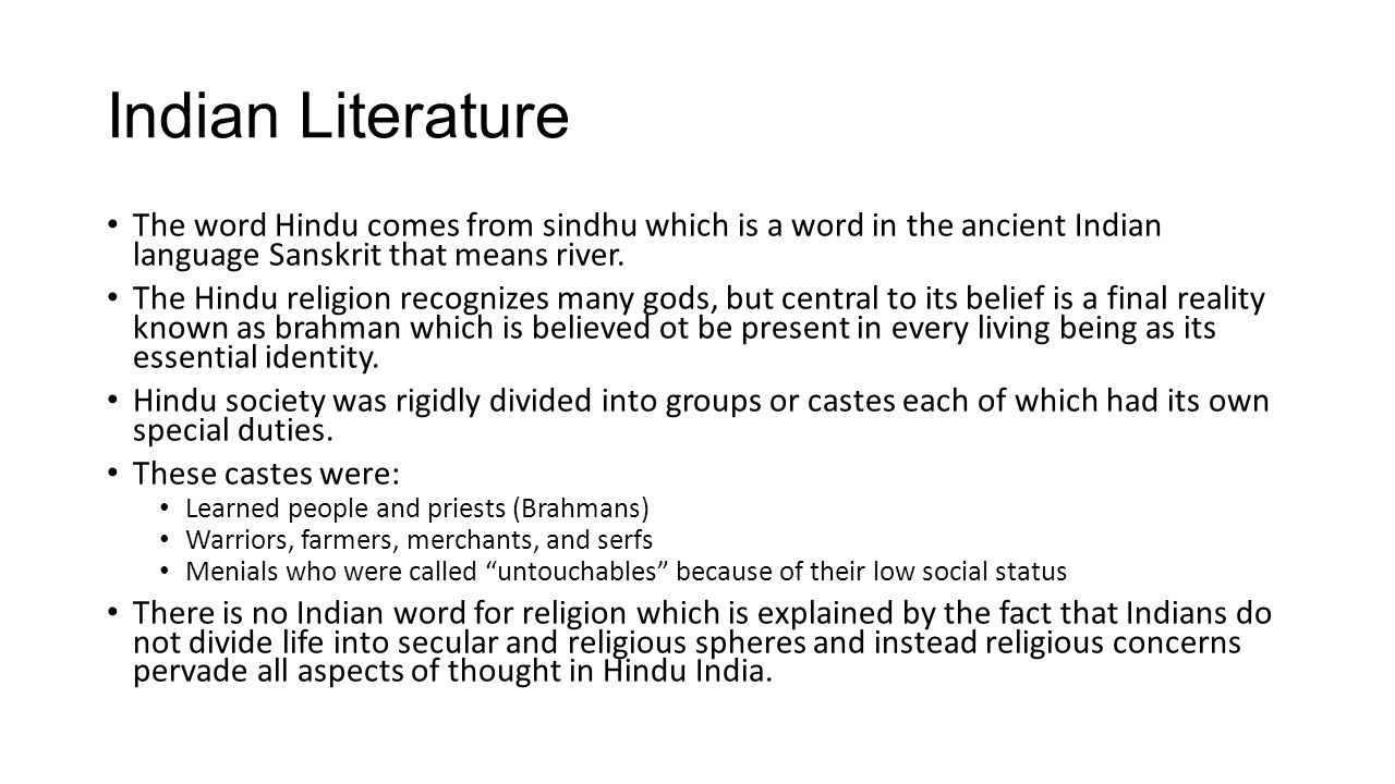 English II  To  October Ppt Download - Ancient indian literature