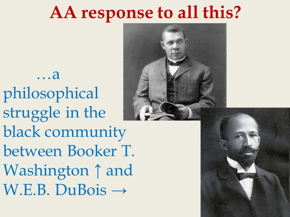 a research on booker t washington and web dubois In the aftermath of the civil war, african-american leaders debated different plans for achieving racial equality booker t washington believed the initial focus should be on educating african americans w e b du bois insisted that achieving equal rights was essential in this lesson, students.